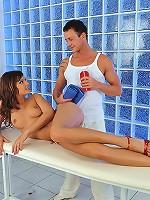 Abbie Cat is having hot sex with a masseur boy