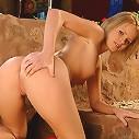 Kinky blondine pushing huge dildo into her pussy